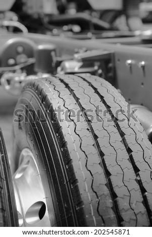 truck tyre - stock photo