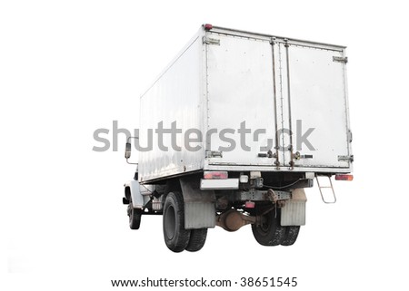 Truck under the white background. View from behind - stock photo