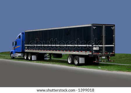 Truck - 18 wheeler - Blue, black, gray - stock photo