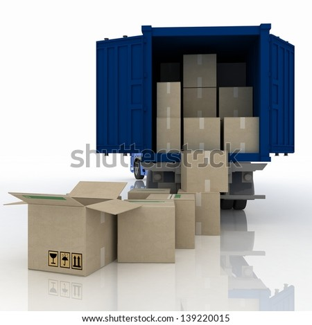 truck  with boxes. 3d  illustration isolated on white background - stock photo
