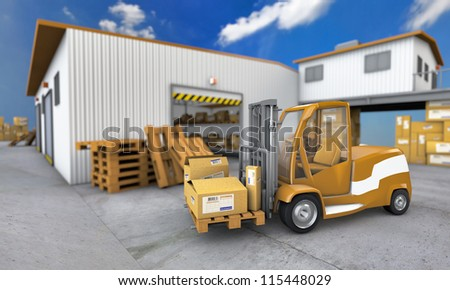 Truck with boxes in warehouse background - stock photo