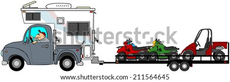 Truck with camper towing ATV's - stock photo