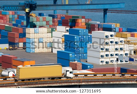 truck with container and sea - stock photo