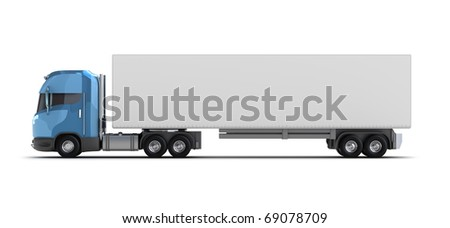 Truck with container isolated on white. My own design - stock photo