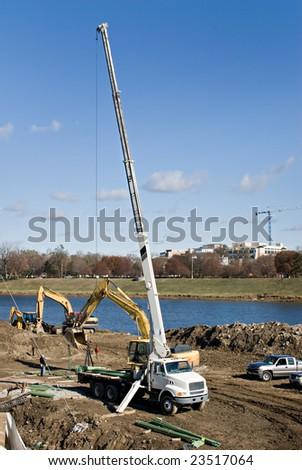 Truck with Crane - stock photo