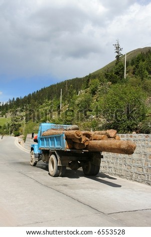 Truck with logs in China - stock photo