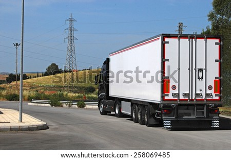 truck with long trailer, trucking and logistics  - stock photo