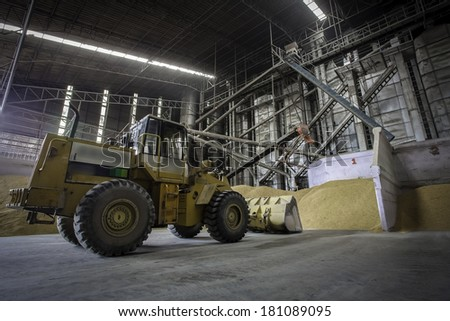 Truck with Ricemill process production line  - stock photo