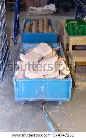 Truck with soap and water at the plant for the production of soap. - stock photo