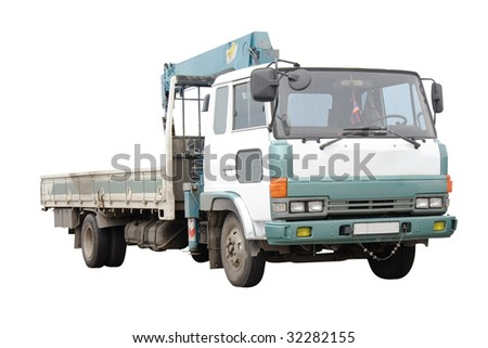 Truck with the handler under the white background - stock photo