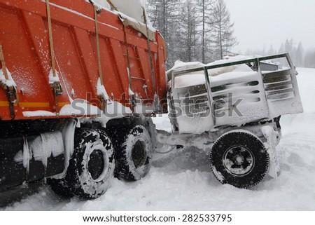 Truckers in Yakutia. - stock photo