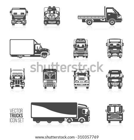 Trucks and delivery trailers automotive carriers decorative icons black set isolated  illustration - stock photo