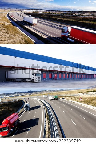 Trucks and transport design. Highway and delivering.Warehouse - stock photo