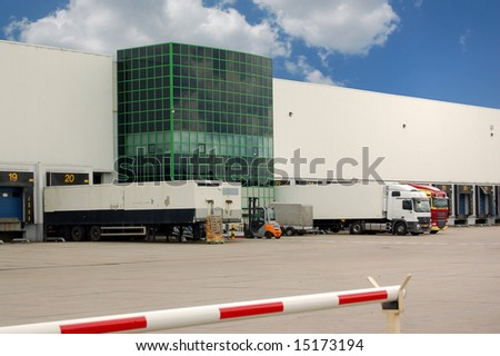 Trucks loading at a warehouse or distribution center