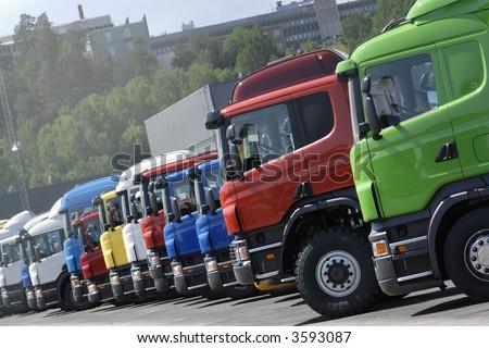 trucks on line, production line - stock photo