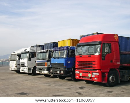Trucks used for road transportation - stock photo