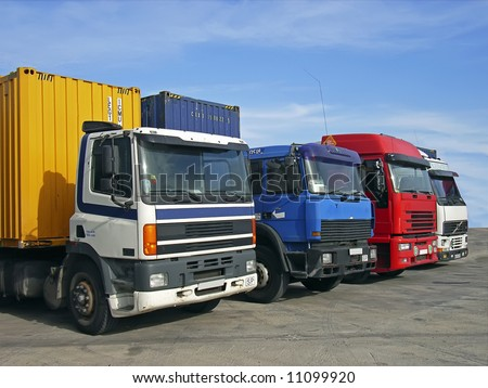 Trucks used to transport goods by road - stock photo