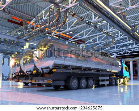 Trucks with fuel in the hangar. - stock photo