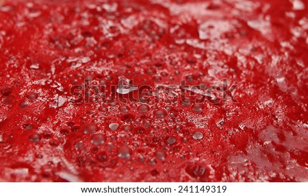 True blood, dish of real red blood, focus on blood. Uncooked blood is one type of popular meal in Vietnam and some Asia countries. - stock photo