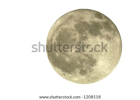 True full April moon (Michigan, USA), isolated for your use. 800mm lens with 2x TC and 1.5x 12MP camera sensor. 2400mm view (35mm equivalent). - stock photo