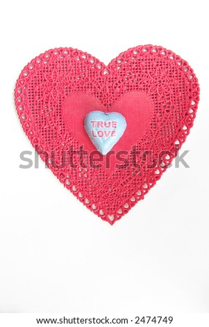 True Love Heart with white copy space - stock photo