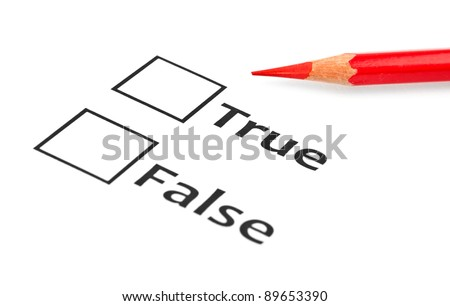 true or false with checkboxes - stock photo