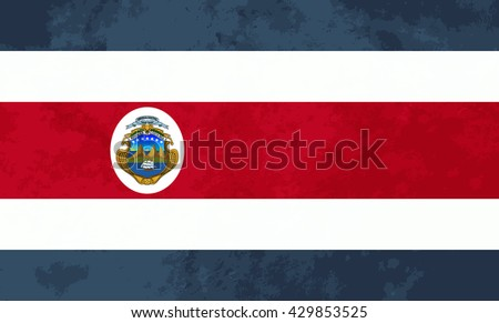 True proportions Costa Rica flag with grunge texture - stock photo