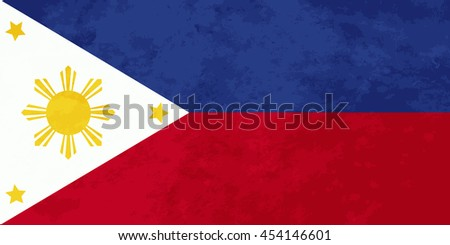 True proportions Philippines flag with grunge texture - stock photo
