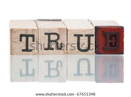 TRUE written with wooden blocks on white background - stock photo