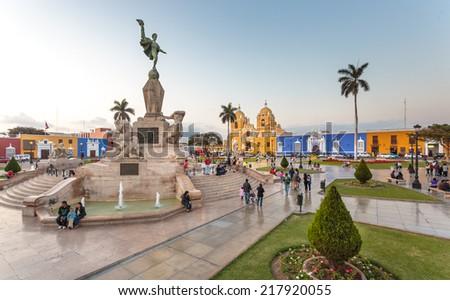 TRUJILLO, PERU -  CIRCA 2014: Panoramic view of main square of the city circa 2014, in Trujillo, Peru. - stock photo
