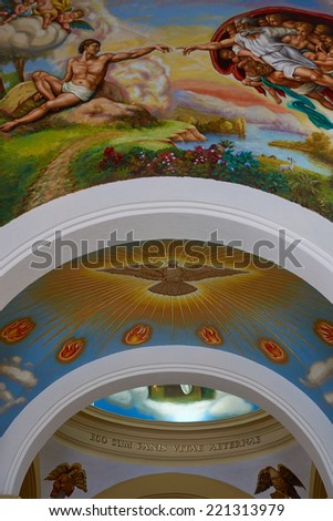 TRUJILLO, PERU - SEPTEMBER 1, 2014: Colourful paintings adorning the ceiling of Trujillo Cathedral in the historic Plaza de Armas of Trujillo, Peru - stock photo
