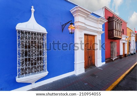 TRUJILLO, PERU: View of traditional house in the downtown. - stock photo