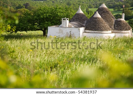 Trulli house in Italy, specific conical roofed houses in Apulia. Unesco World Heritage site famous as a top travel destination in Puglia