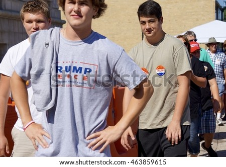 Trump Rally Portland, Maine USA 08/04/2016 Young Trump Supporters At City Hall With New Trump Tee Shirts And Buttons