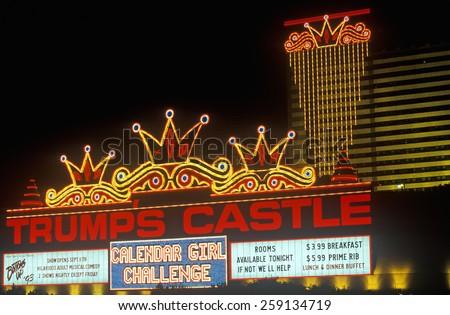 Trump's Castle Casino on boardwalk in Atlantic City, NJ - stock photo