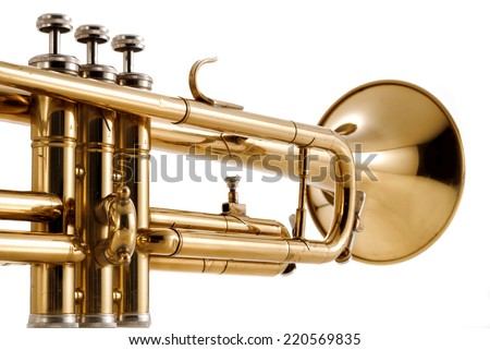trumpet close up, isolated