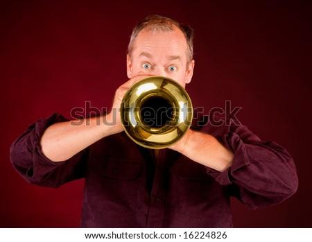 Trumpet Player - stock photo