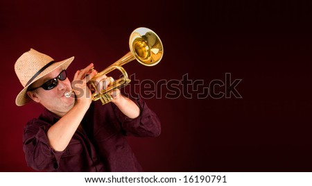 Trumpet Player Trumpeting an Announcement - stock photo
