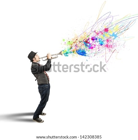 Trumpeter with colorful splash effect - stock photo
