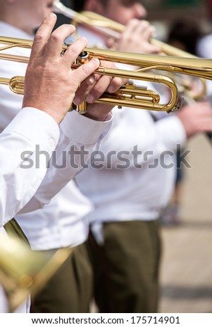 Trumpeters in a military brass big band