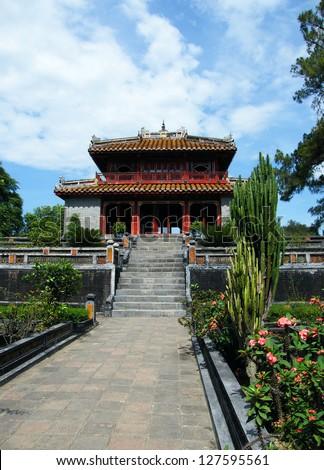 Trung Dao bridge and pavilion at Minh Mang Emperor Royal Tomb in Hue, Vietnam - stock photo