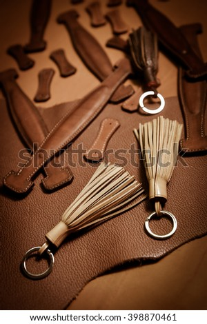 Trunk Maker at work in his luxury leather workshop, France - stock photo