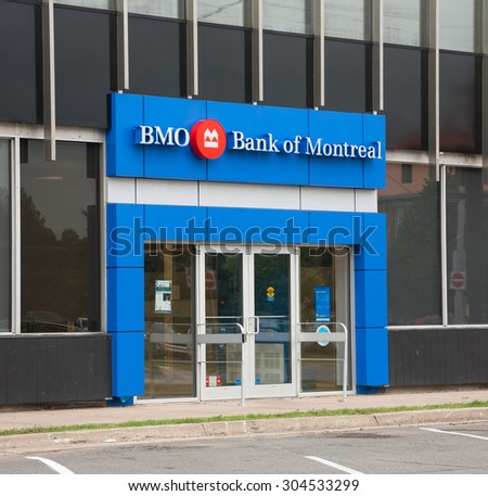 TRURO, CANADA - AUGUST 09, 2015: Bank of Montreal entrance. The Bank of Montreal or BMO is, by assets and capitalization, Canada's fourth largest bank.
