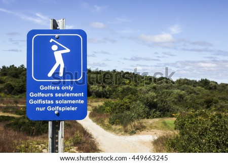 TRURO-SEPTEMBER 14: Golfers only sign near Truro lighthouse in Cape Cod , Massachussets, USA on September  14, 2014. - stock photo