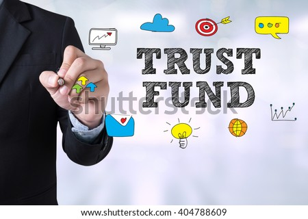 TRUST FUND Businessman drawing Landing Page on blurred abstract background - stock photo