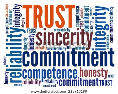 Trust in word collage - stock photo