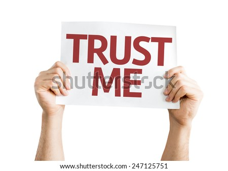 Trust Me card isolated on white background - stock photo