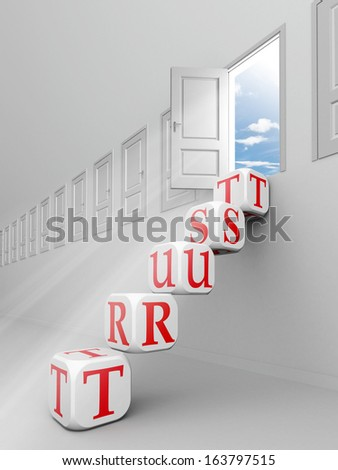 trust red word blocks up to open door out o f room - stock photo