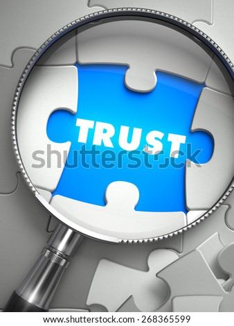 Trust through Lens on Missing Puzzle Peace. Selective Focus. 3D Render. - stock photo