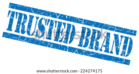 trusted brand blue square grunge textured isolated stamp - stock photo